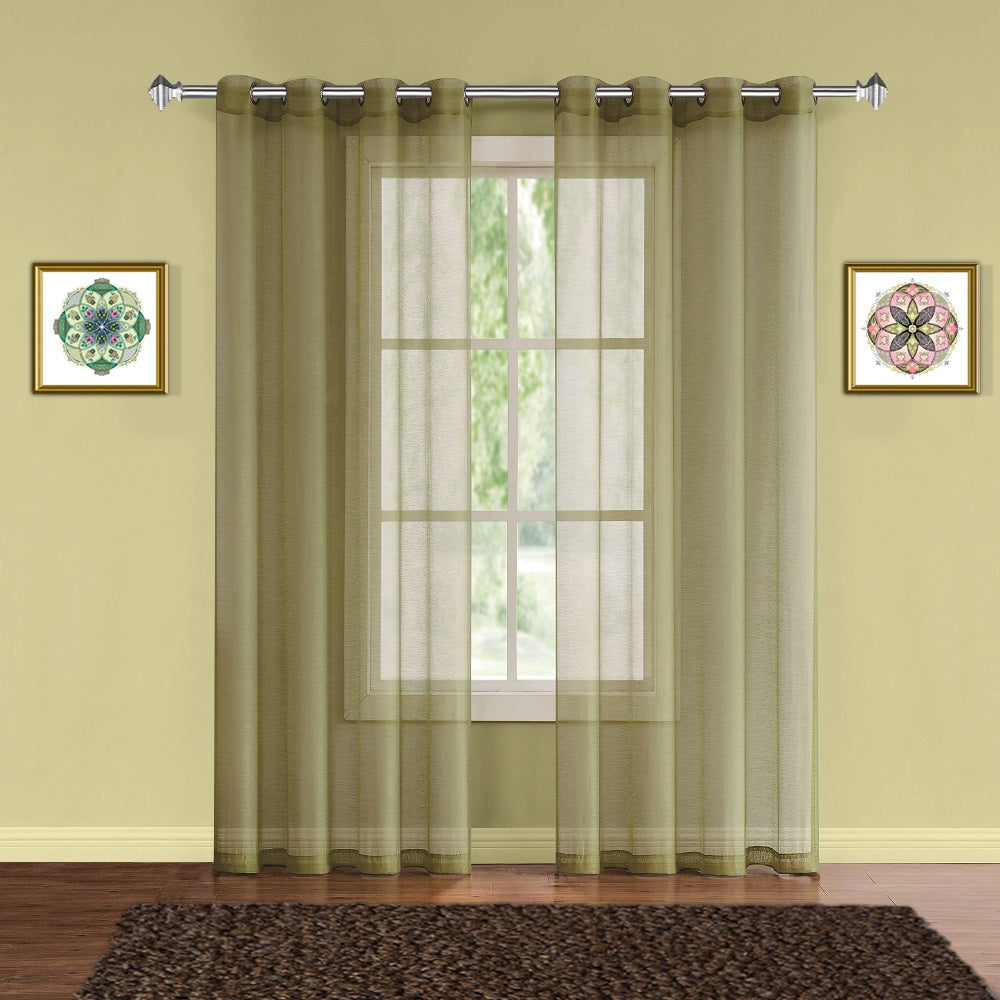 Warm Home Designs 1 Pair of Sage Green Voile Sheer Window Curtains with Grommet Top