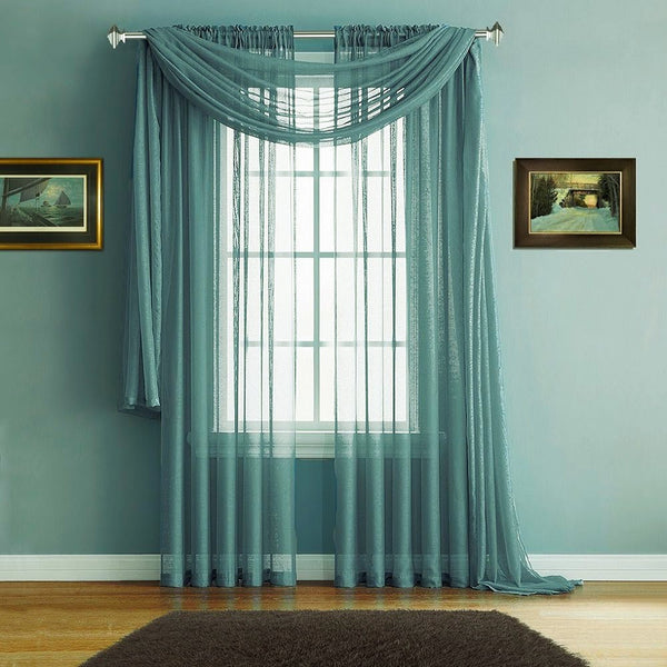 Warm Home Designs Sea Green Window Scarves & Sheer Green Teal Curtains
