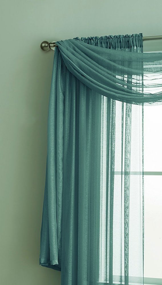 Warm Home Designs Premium Sheer Sea Green Window Scarves or Rod Pocket Sheer Sea Green (Green Teal) Curtains