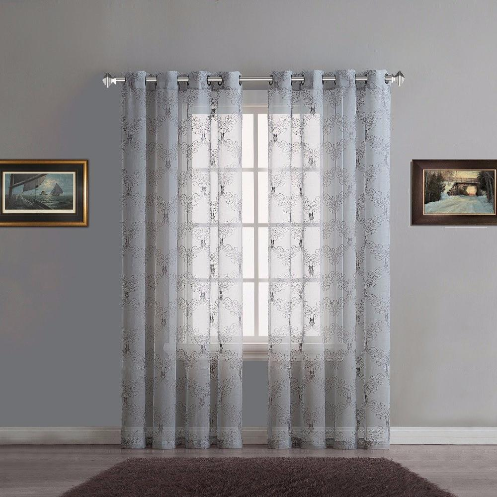 Warm Home Designs Sheer Silver Curtain Panels with Grey Embroidery