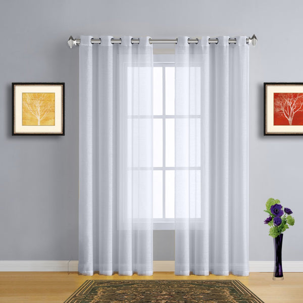 Warm Home Designs 1 Pair of Metallic Silver Voile Sheer Window Curtains with Grommet Top