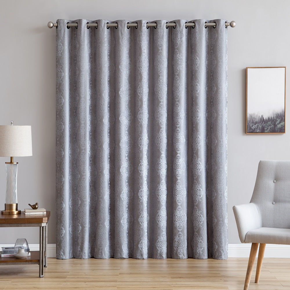 "Warm Home Designs Ultra Premium 110"" Silver Color 100% Blackout Patio Door Curtains"