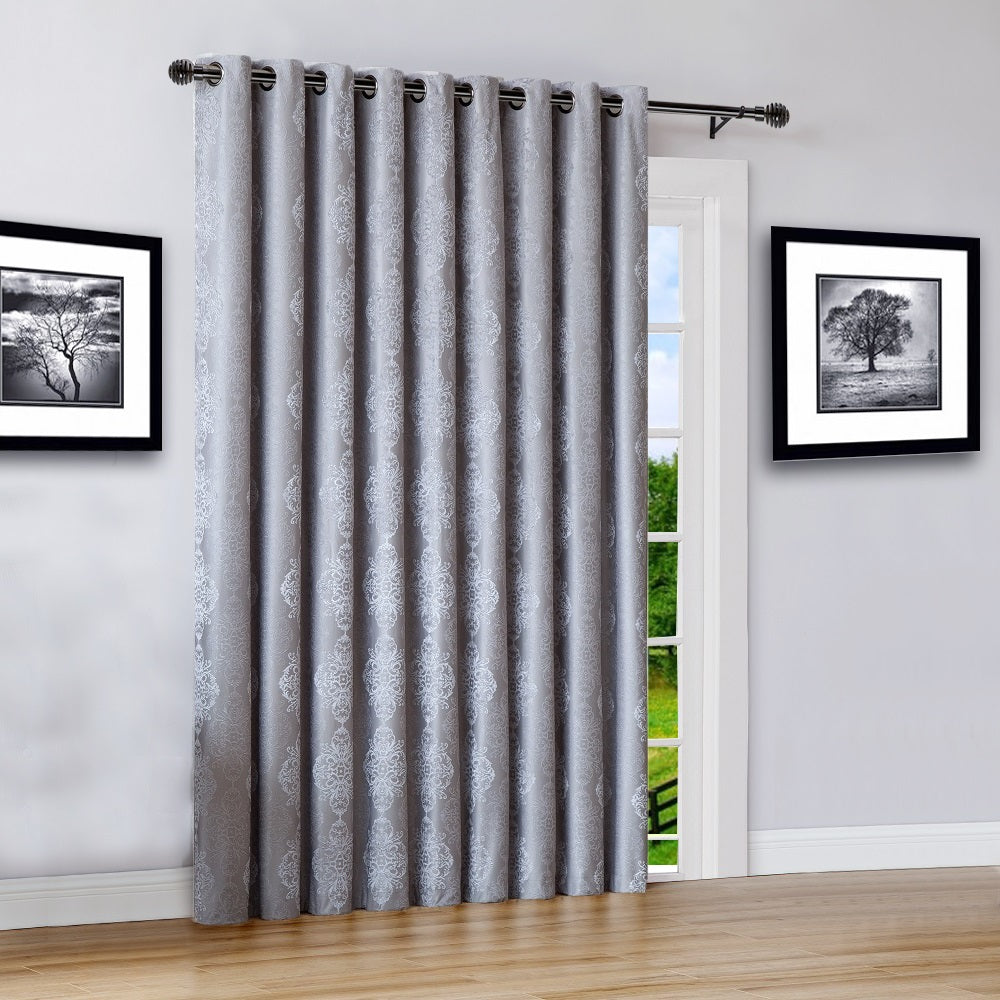 "Warm Home Designs 110"" Wide Silver 100% Blackout Patio Door Curtains"