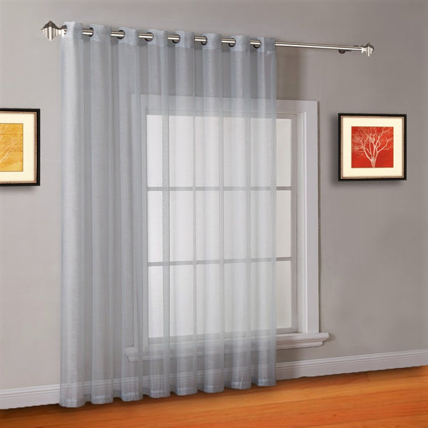"102"" Extra Wide Sheer Silver Sliding Patio Door Curtains Room Dividers"