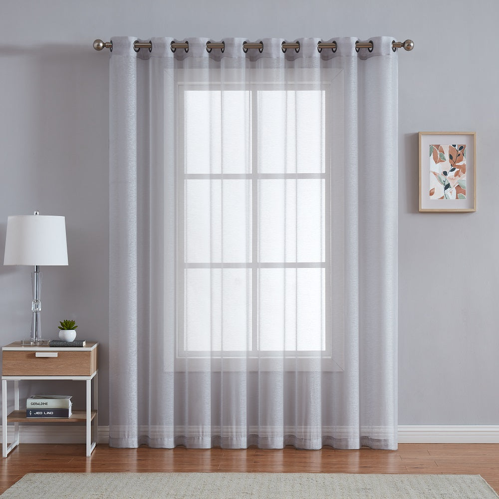 "Warm Home Designs 1 Panel of 102"" Extra Wide Linen Textured Sheer Silver Patio Door Curtains"