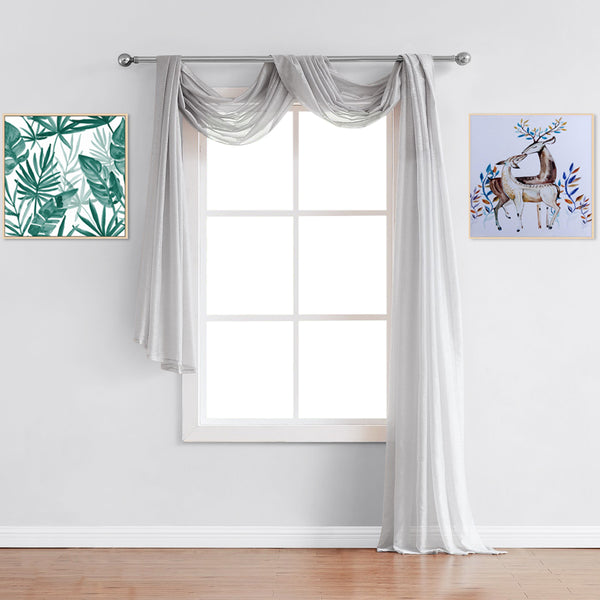 Warm Home Designs Premium Sheer Metallic Silver Window Scarves or Rod Pocket Sheer Silver Curtains