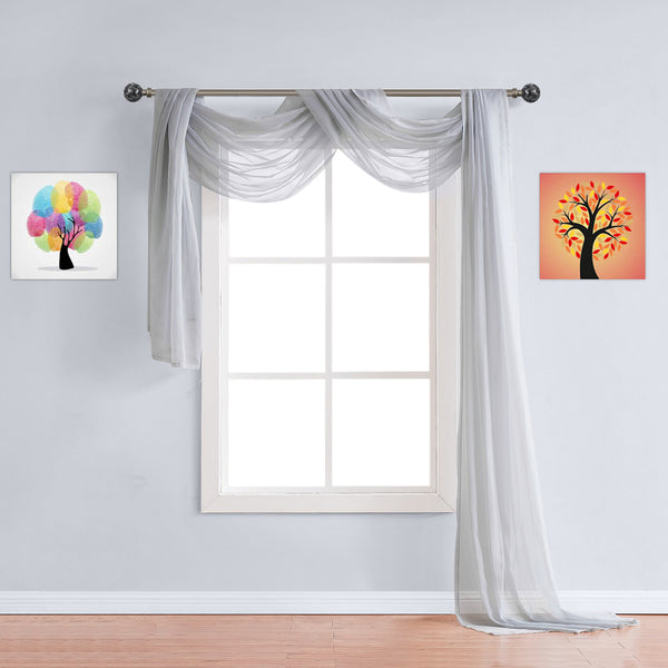 Warm Home Designs Pair of Light Silver Sheer Curtains or Extra Long Window Scarf