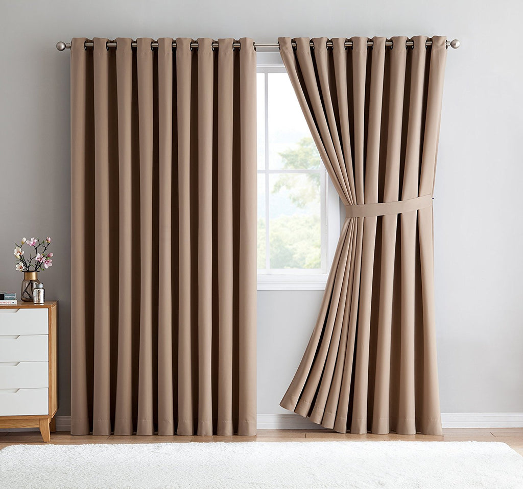 Warm Home Designs Extra-Wide Taupe Patio Door Curtains & Wall-to-Wall Room Dividers