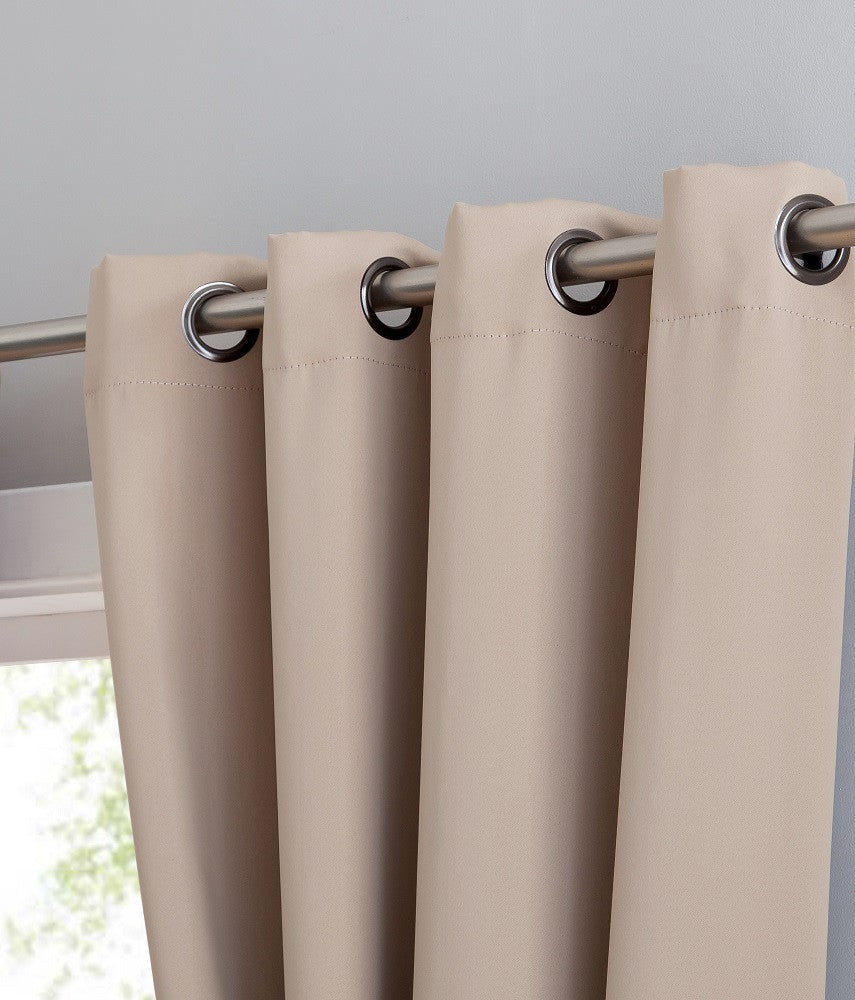 Taupe Blackout Curtains & Valance Scarves with Matching Tie-Backs
