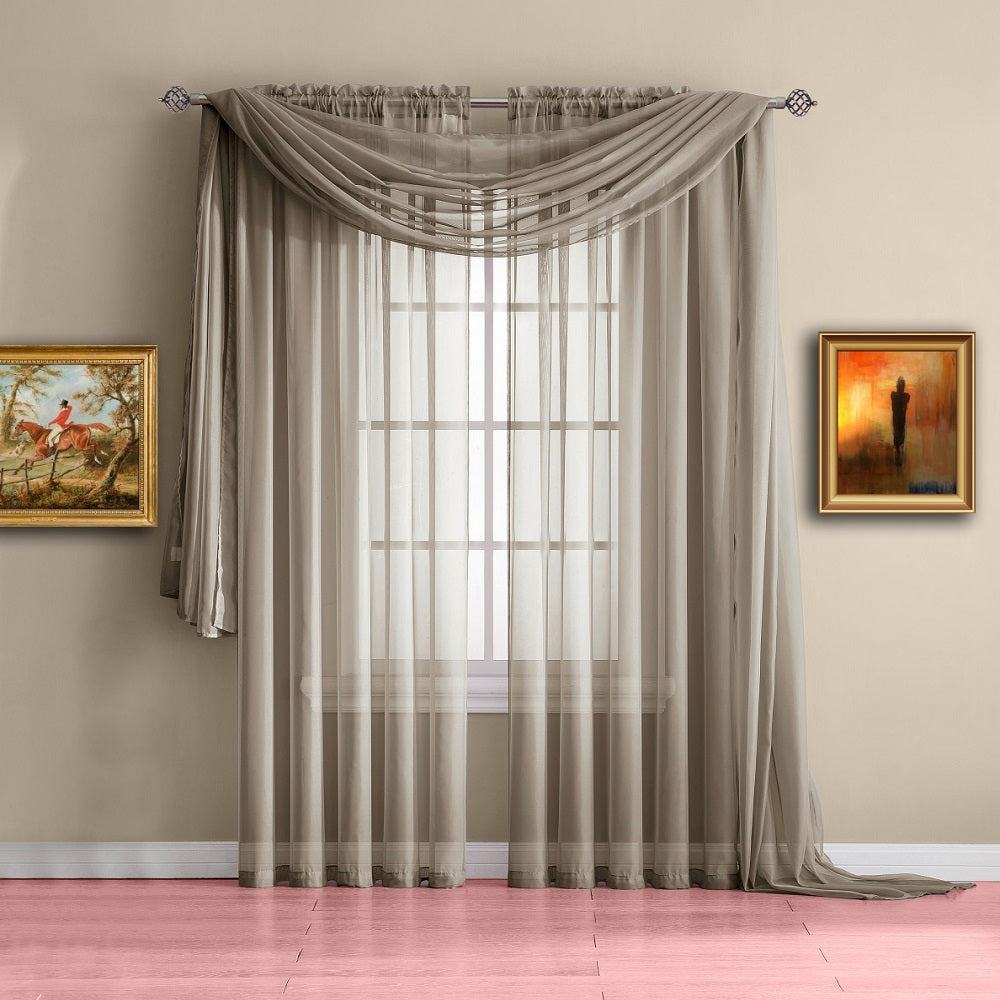 Warm Home Designs Taupe Window Scarf Valance, Sheer Taupe Curtains