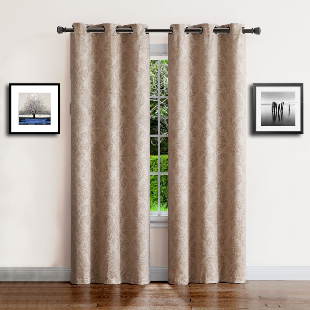 Warm Home Designs Embossed Textured Blackout Energy Efficient Taupe (Dark Beige) Curtains in 9 Sizes