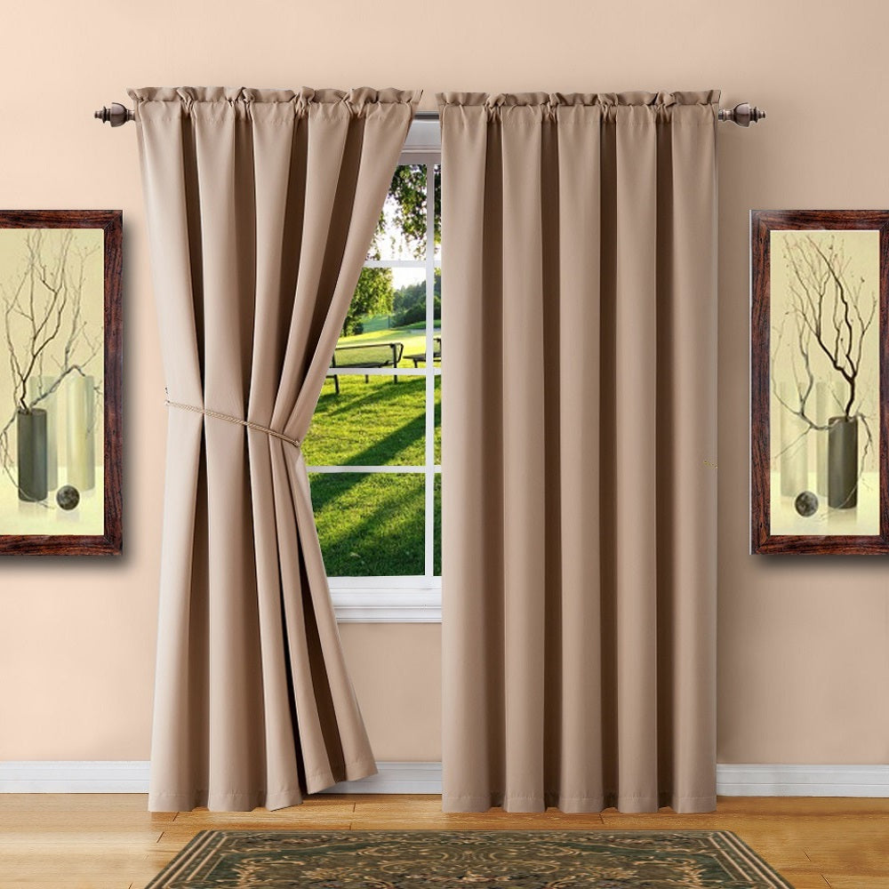 Warm Home Designs Pair of Taupe Room Darkening Curtains, Tie-Backs
