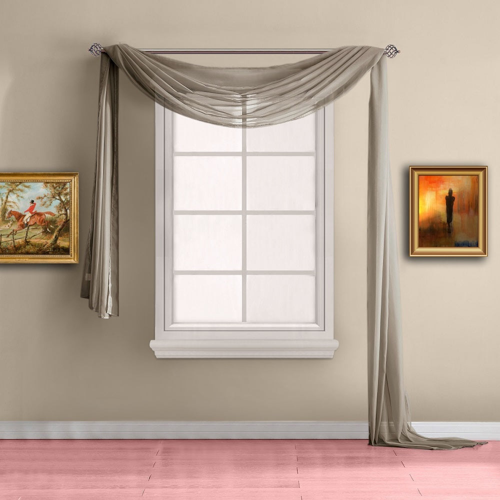 Warm Home Designs Pair of Taupe Sheer Curtains or Extra Long Window Scarf