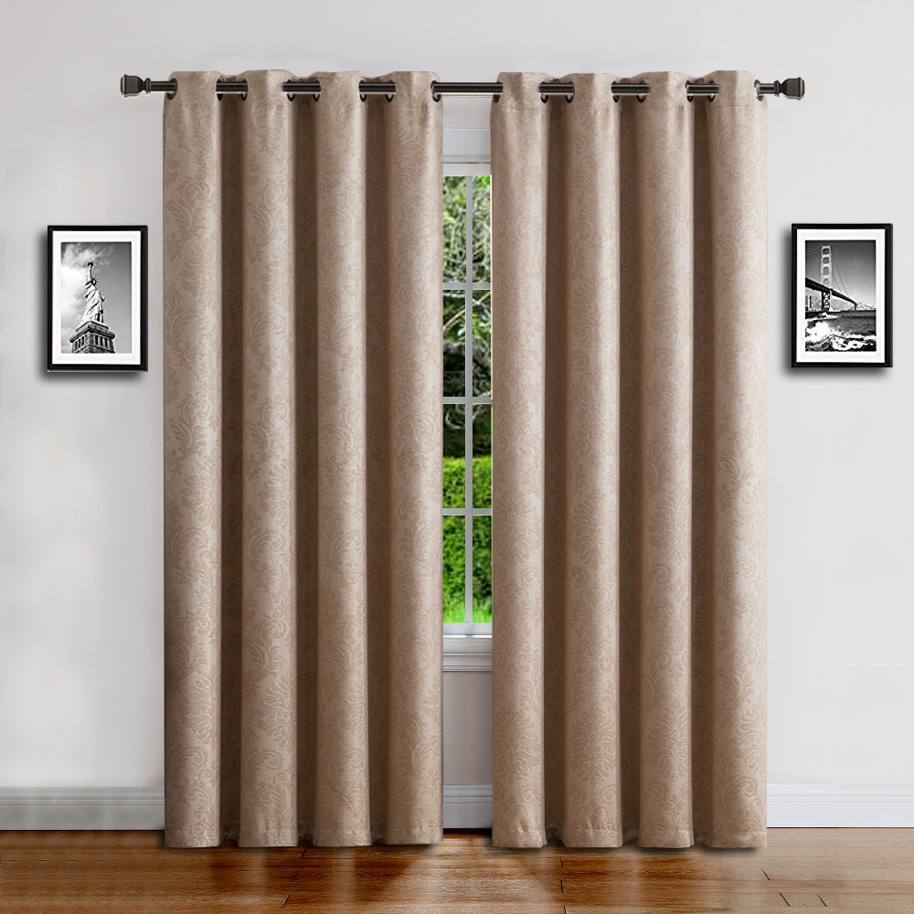 Warm Home Designs Embossed Textured Energy Efficient Taupe Curtains