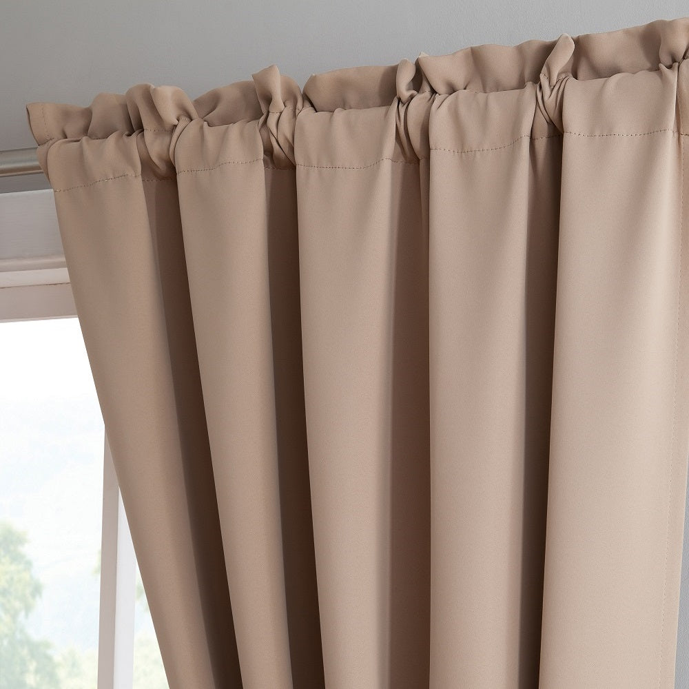 "Warm Home Designs Pair of 54"" Taupe Blackout Panels with Thermal Insulated Lining & 2 Tie-Backs. Blackout Curtains Available in 63, 84, 96 & 108 Inch Length."