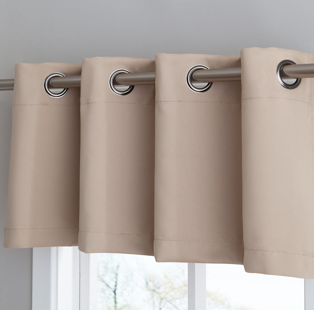 Warm Home Designs Taupe Blackout Curtain Panels, Pairs & Valances with Matching Tie-Backs in 7 Sizes