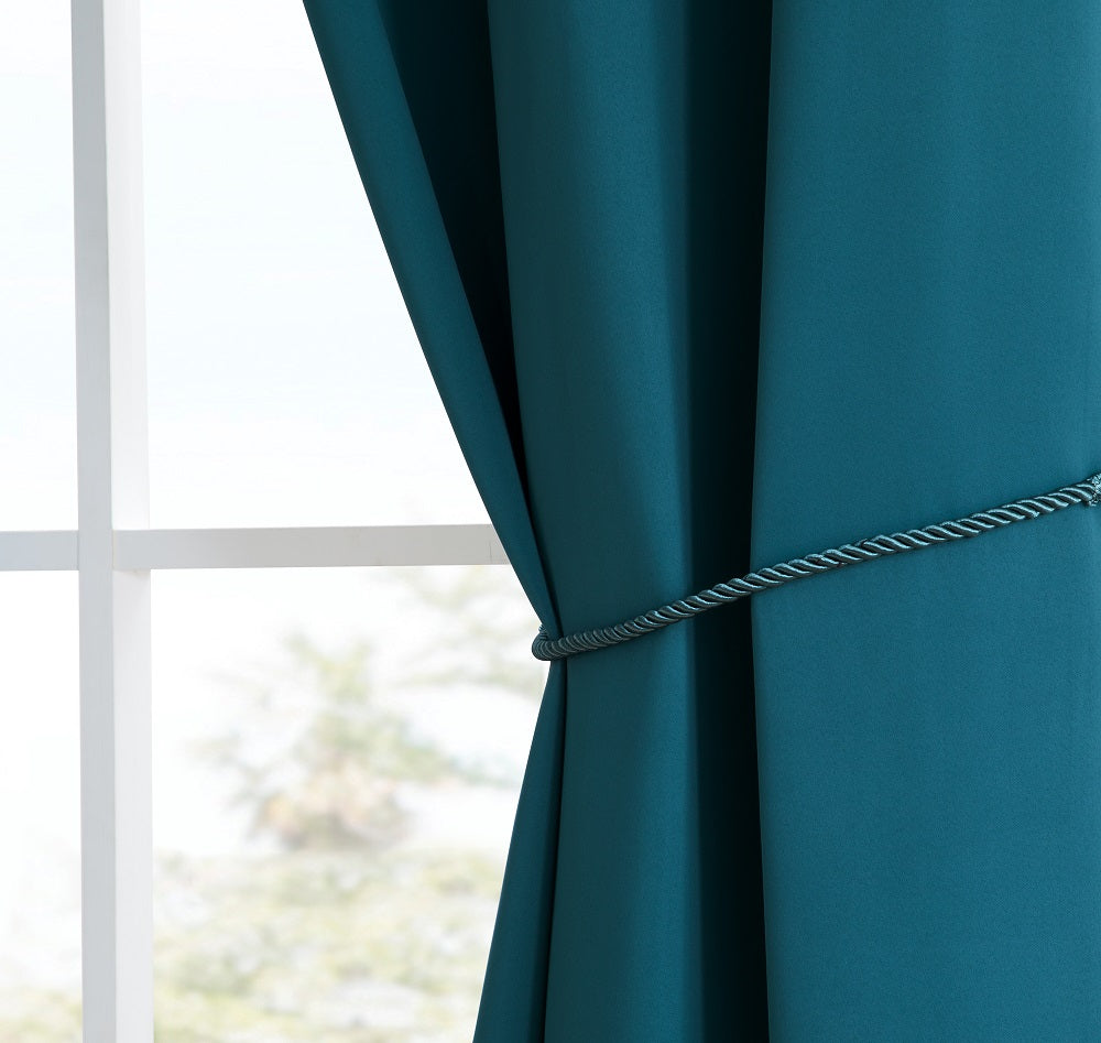 Warm Home Designs Pair of Blue Teal Room Darkening Curtains, Tie-Backs