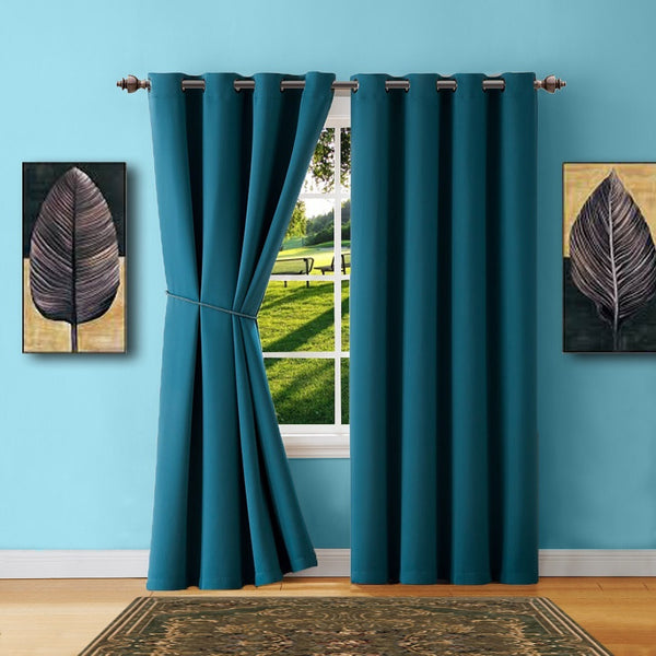 Colorful Blackout Curtains With Matching Tie-Backs And
