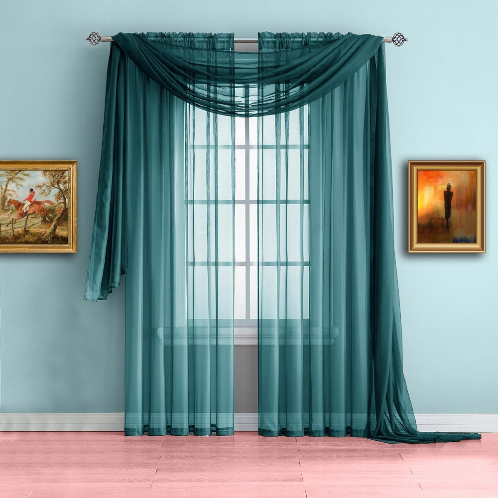 Warm Home Designs Blue Teal Window Scarf Valance Sheer Curtains
