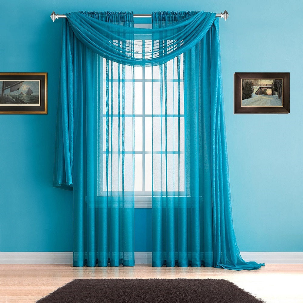 Warm Home Designs Teal Window Scarves & Sheer Teal