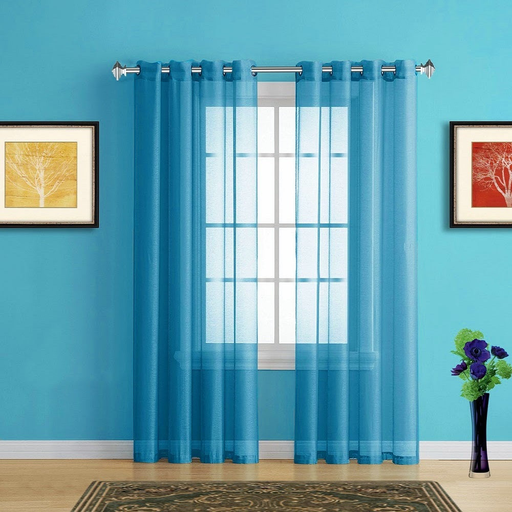 Warm Home Designs Faux Linen Blue Teal Sheer Curtains with Grommets