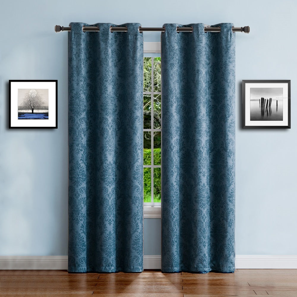 Warm Home Designs Embossed Textured Blackout Energy Efficient Teal Blue Curtains In 9 Sizes