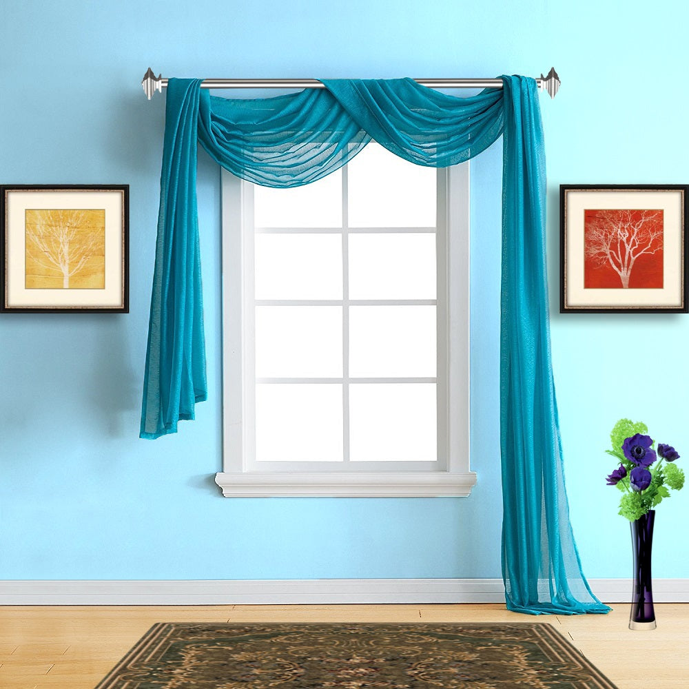 Warm Home Designs Sheer Blue Teal Window Scarf