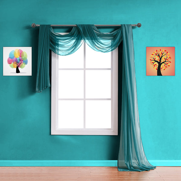 Warm Home Designs Pair of Green Teal Sheer Curtains or Extra Long Window Scarf