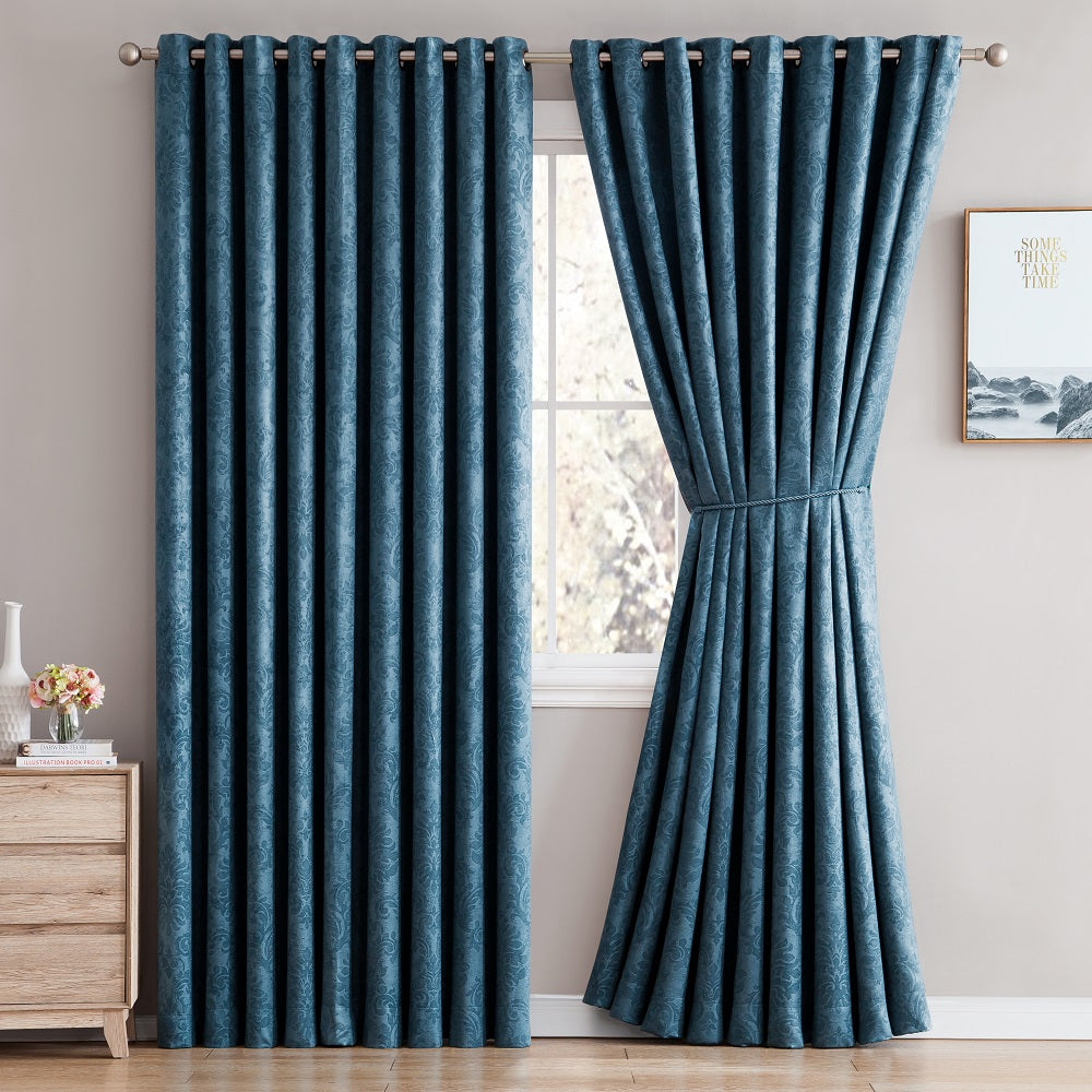 Love the Look and Feel of Your Curtains - Save on Warm Home Designs Embossed Textured Insulated Energy Efficient Teal Blue Blackout Curtains in 9 Sizes.
