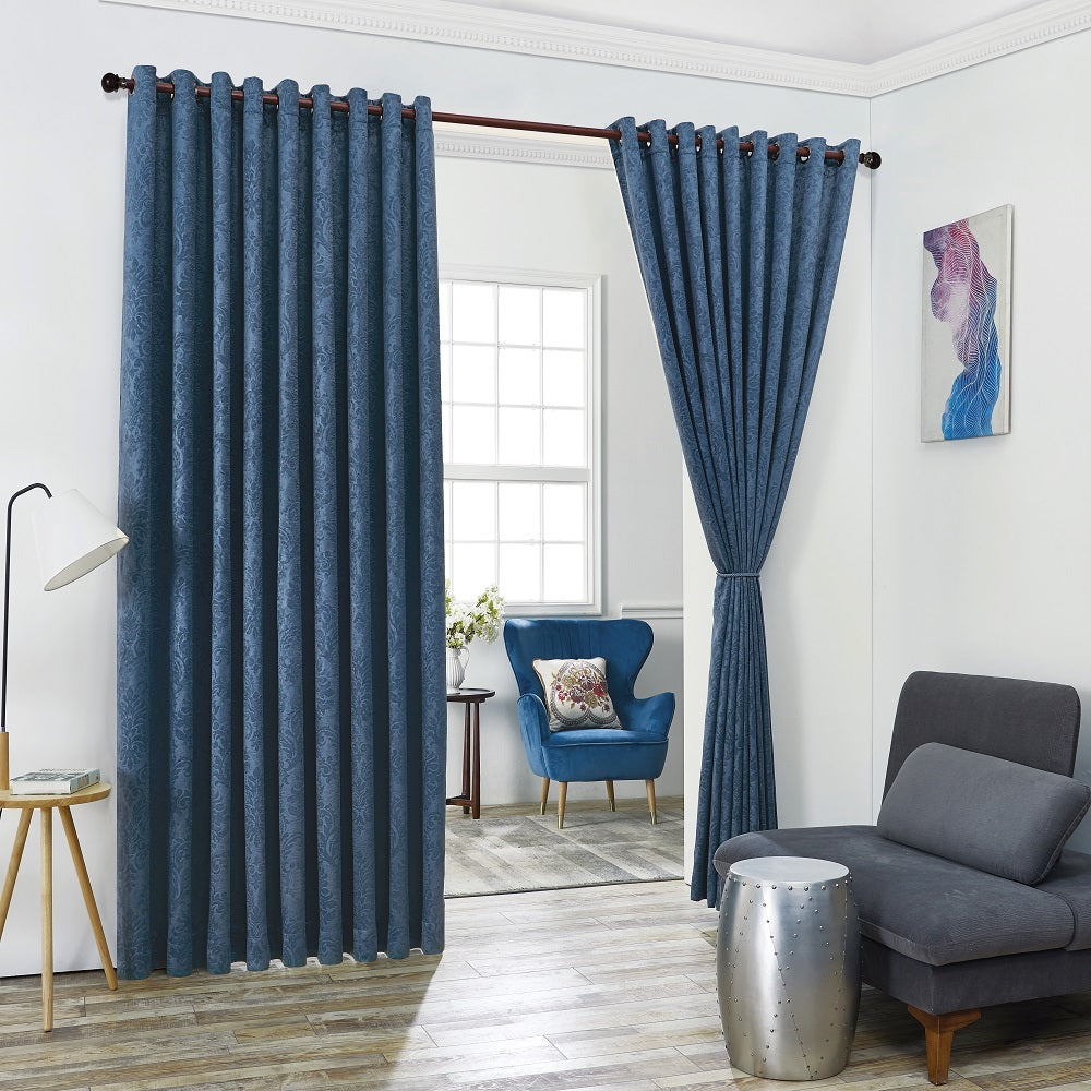Warm Home Designs Embossed Textured Blackout Energy Efficient Teal Blue Curtains in 12 Sizes