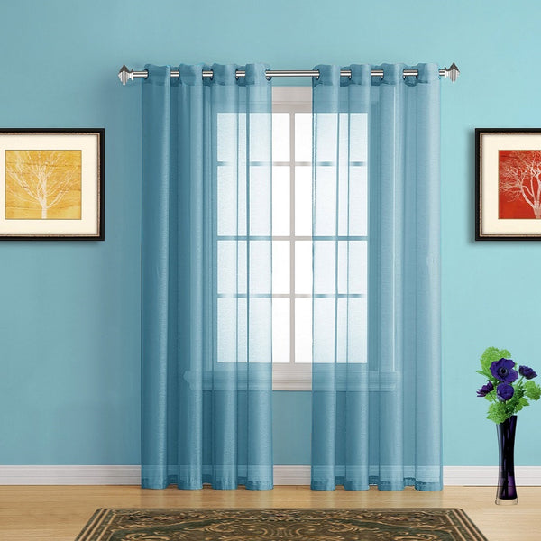 Warm Home Designs Faux Linen Turquoise Sheer Curtains with Grommets