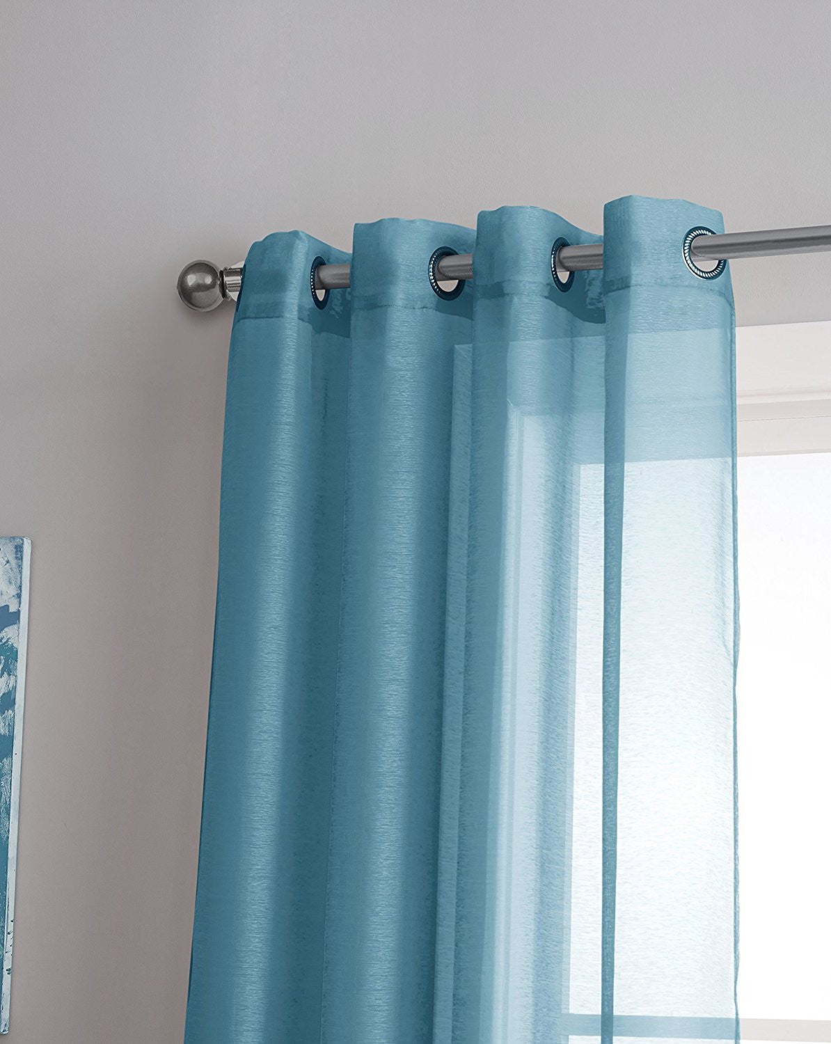 ... Warm Home Designs 1 Pair Of Turquoise Blue Voile Sheer Window Curtains  With Grommet Top ...