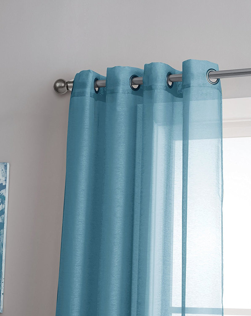 Warm Home Designs 1 Pair of Turquoise Blue Voile Sheer Window Curtains with Grommet Top