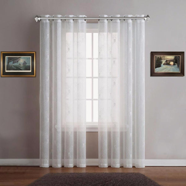 warm home designs sheer ivory white curtain panels with white embroidery