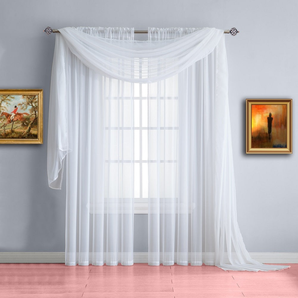 warm home designs white window scarf valance sheer white curtains. Black Bedroom Furniture Sets. Home Design Ideas