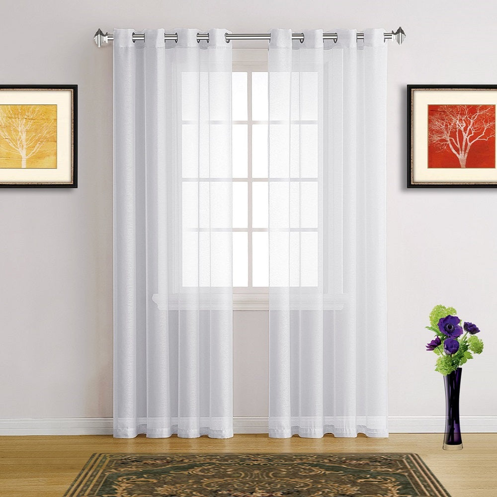warm home designs faux linen bright white sheer curtains in 7 sizes - White Sheer Curtains