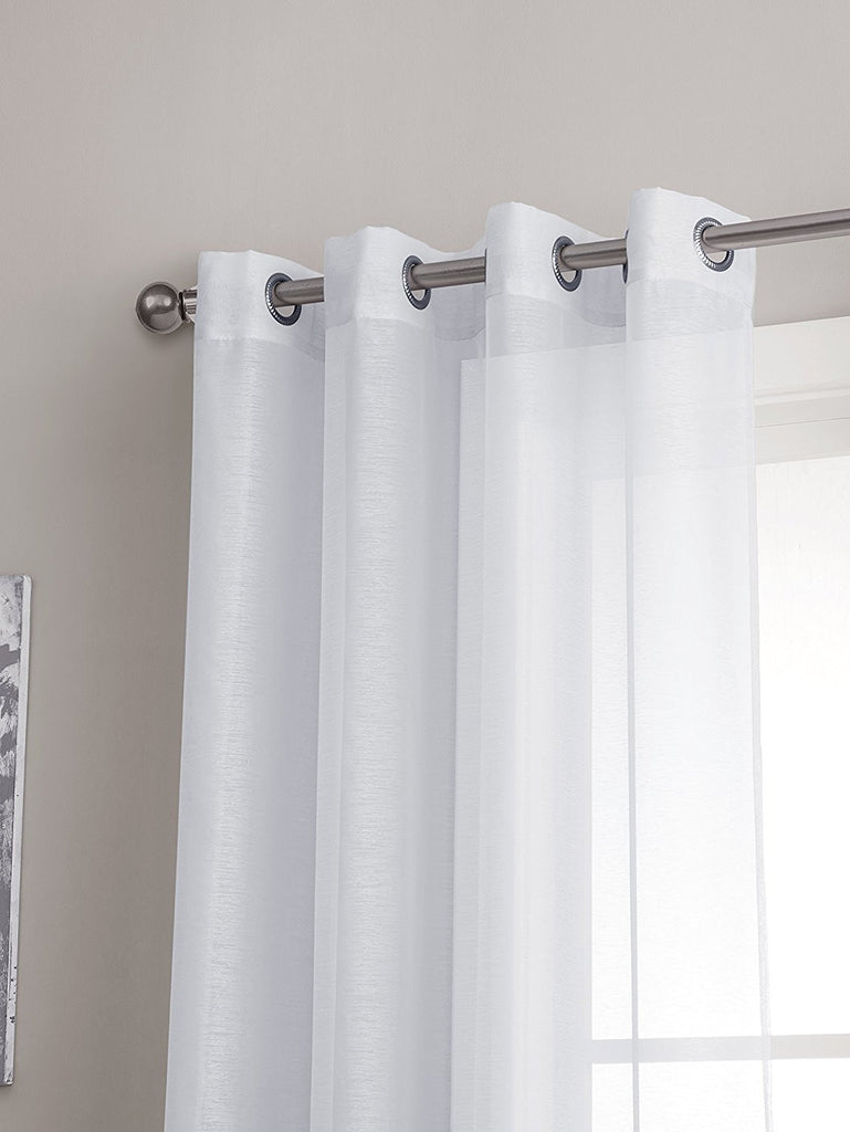 Warm Home Designs 1 Pair of White Voile Sheer Window Curtains with Grommet Top