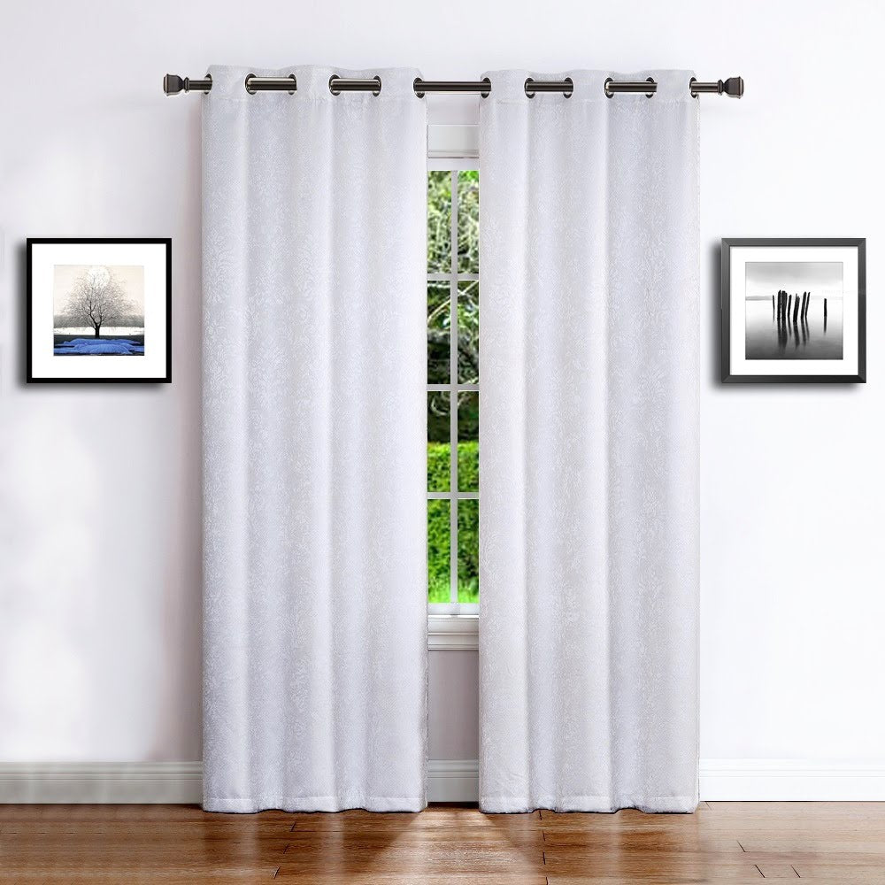 Warm Home Designs Embossed Textured Room Darkening Energy Efficient White Curtains in 11 Sizes