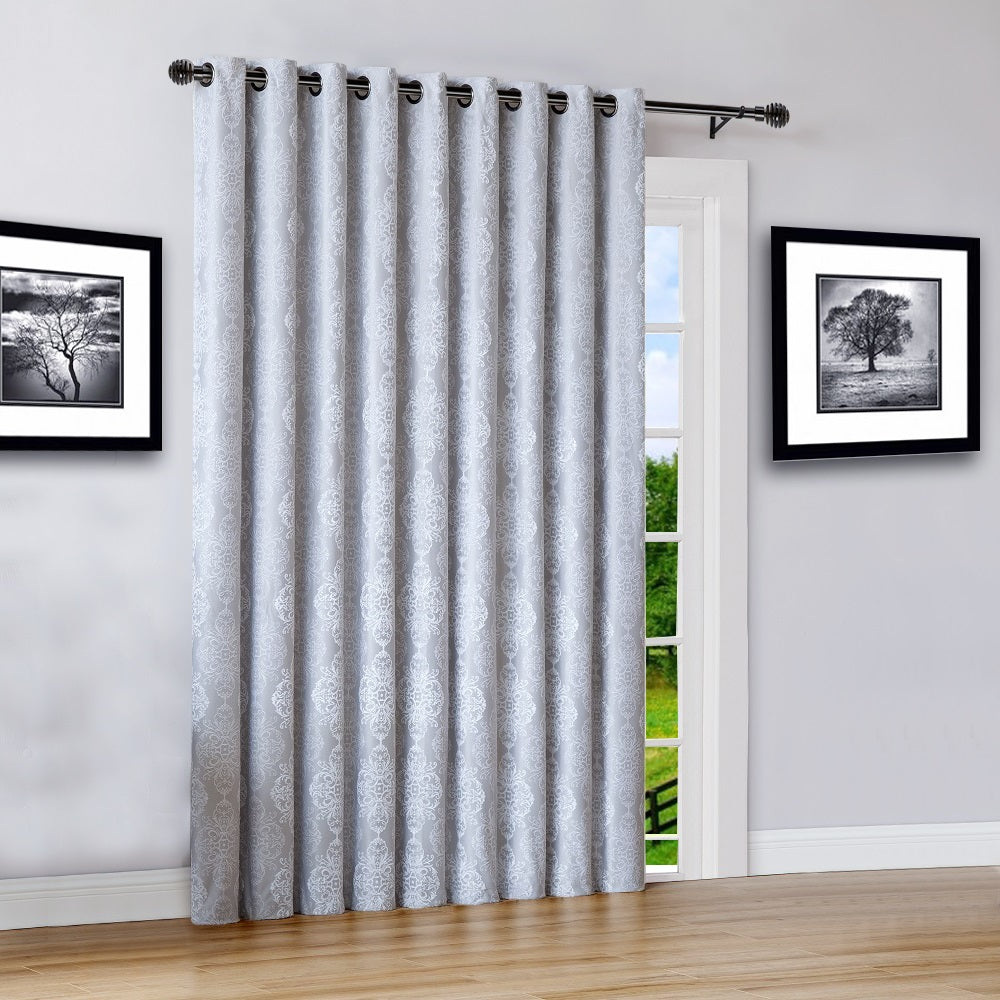 "Warm Home Designs 110"" Wide White 100% Blackout Patio Door Curtains"
