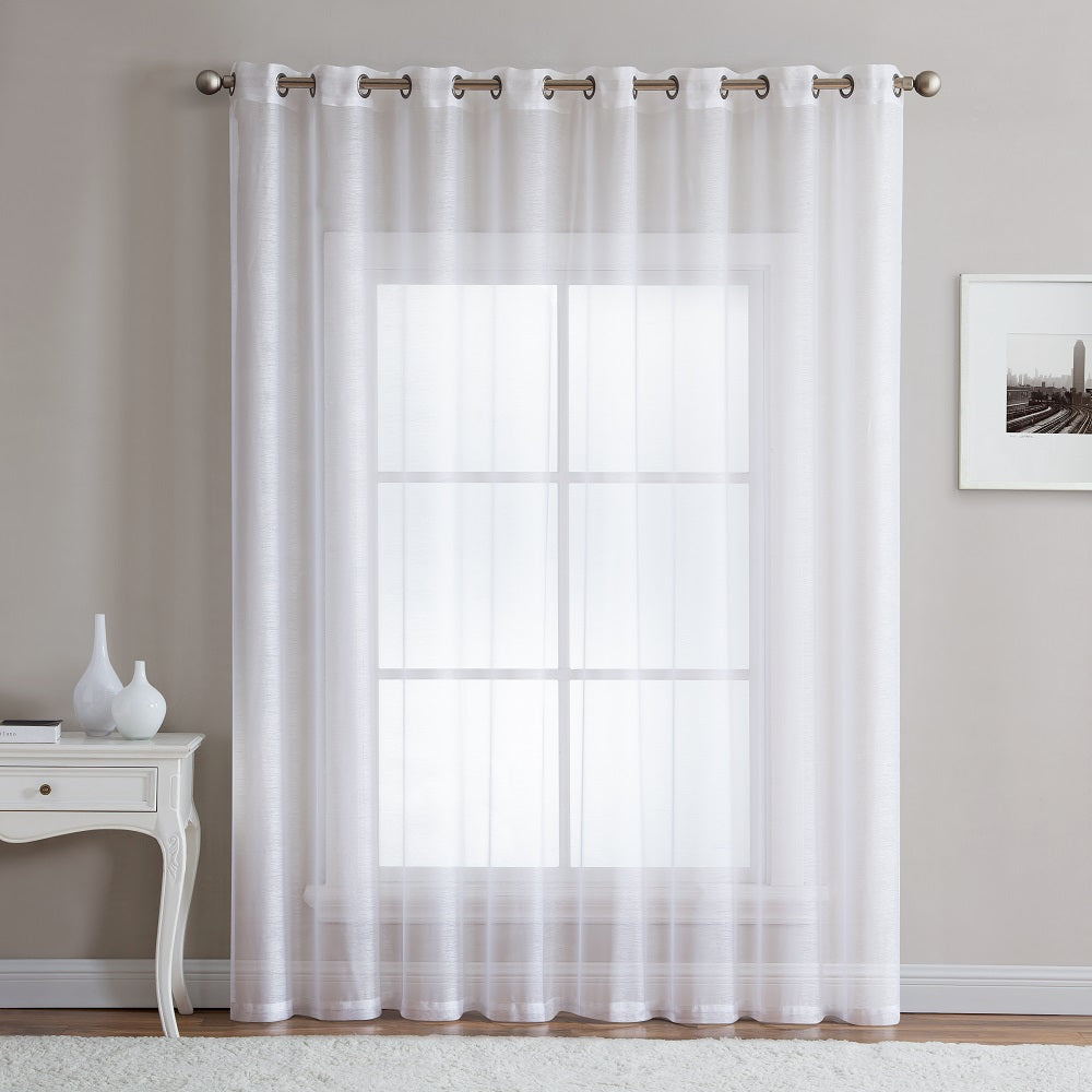 "Warm Home Designs 1 Panel of 102"" Extra Wide Linen Textured Sheer White Patio Door Curtains"