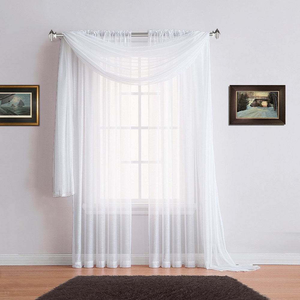 Warm Home Designs White Window Scarves & Sheer White Curtains: 7 Sizes
