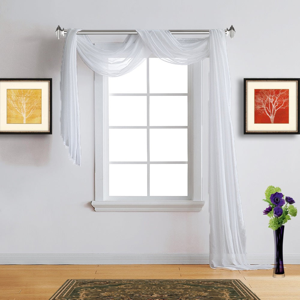 Warm Home Designs Sheer White Window Scarf