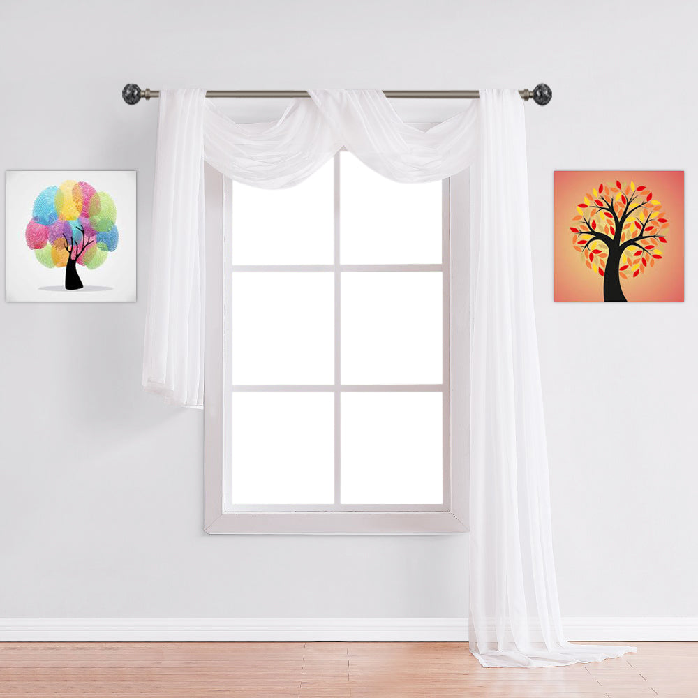 Warm Home Designs White Window Scarf Valance Sheer Curtains Warmhomedesigns Com