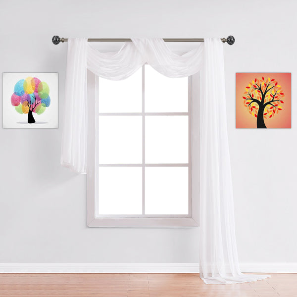 Warm Home Designs Pair of White Sheer Curtains or Extra Long Window Scarf