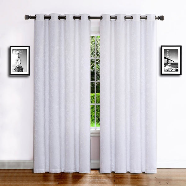 Warm Home Designs Embossed Textured Room Darkening White Curtains