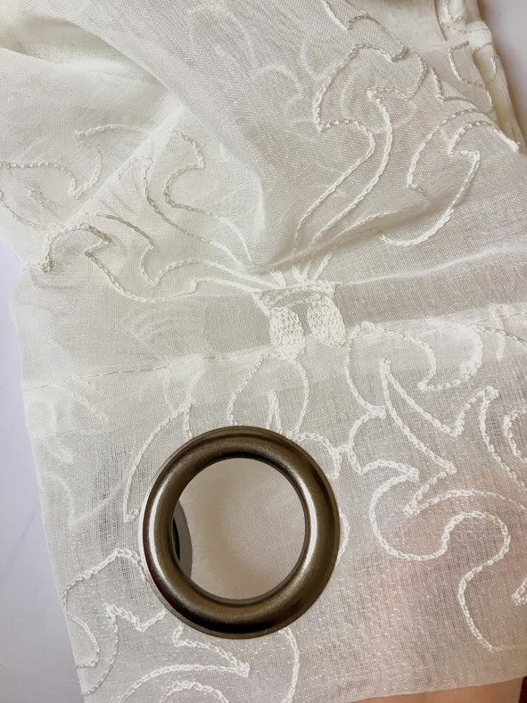 Warm Home Designs Sheer Ivory White Curtain Panels w/ White Embroidery