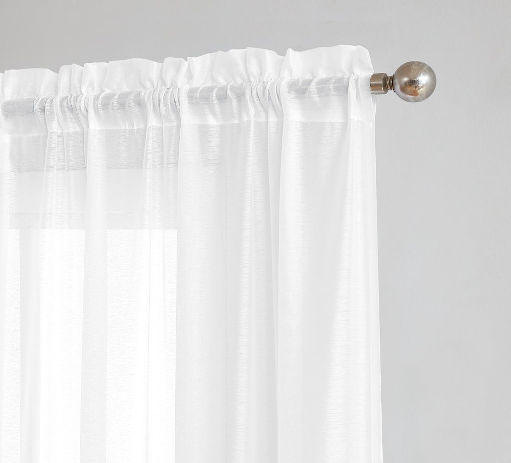 Warm Home Designs Premium Sheer White Window Scarves or Rod Pocket Sheer White Curtains