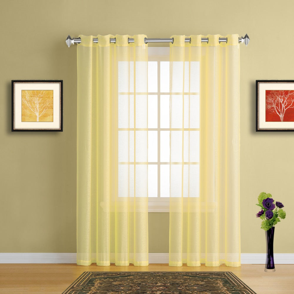 Warm Home Designs Lime Yellow Sheer Curtains Window Scarf