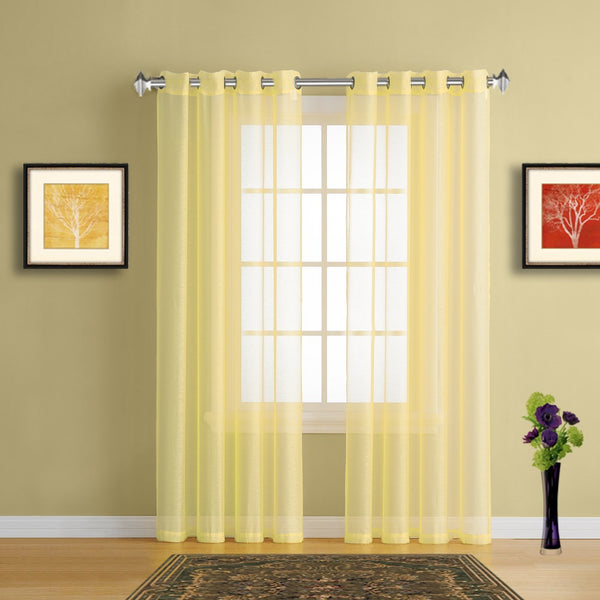 Warm Home Designs Lime Yellow Sheer Curtains & Yellow Window Scarf