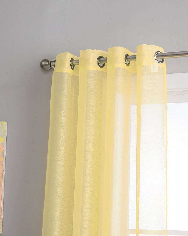 Warm Home Designs 1 Pair Of Yellow Sheer Window Curtains And Scarves